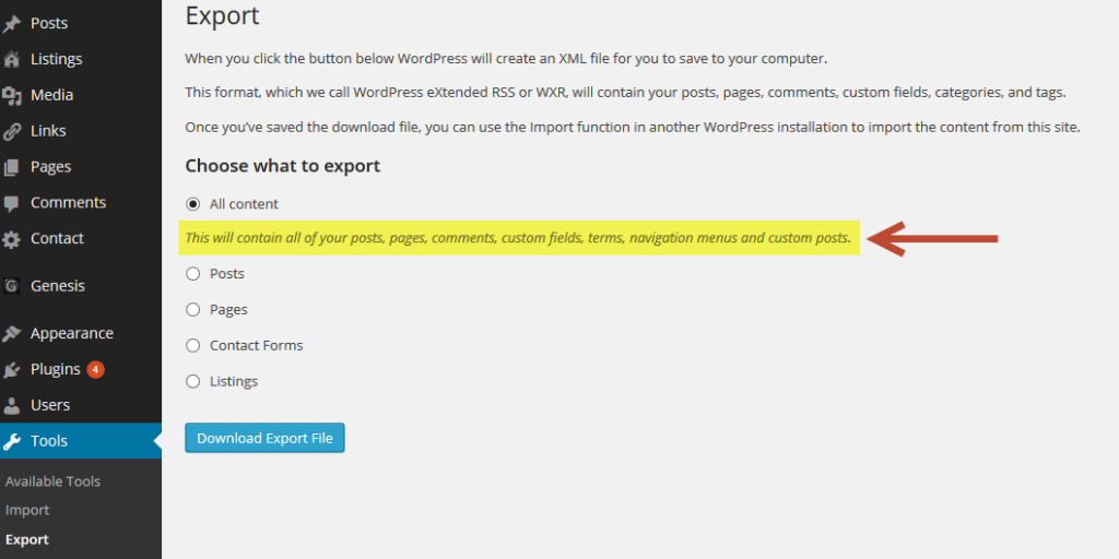 Wordpress Export Option