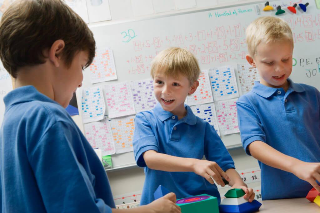 Kindergarten Kids Working Together